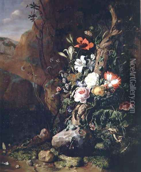 Treetrunk, flowers and butterflies Oil Painting - Rachel Ruysch