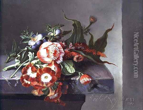 A Bouquet of Peonies on a Marble Ledge, 1747 Oil Painting - Rachel Ruysch