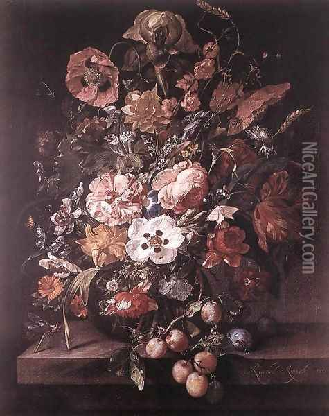 Bouquet in a Glass Vase 2 Oil Painting - Rachel Ruysch