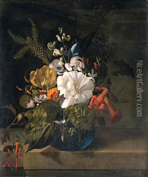 A white gentian, a cactus, a tulip and exotic flowers in a glass vase on a ledge Oil Painting - Rachel Ruysch