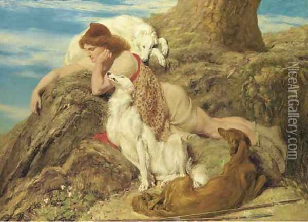 Endymion 'Ah well-a-day, Why should our young Endymion pine away' - Keats, Endymion, 1818 Oil Painting - Briton Riviere