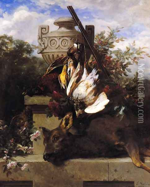 Still Life with Game and a Rifle on a Marble Ledge with an Urn in a Flowery Landscape Oil Painting - Jean-Baptiste Robie