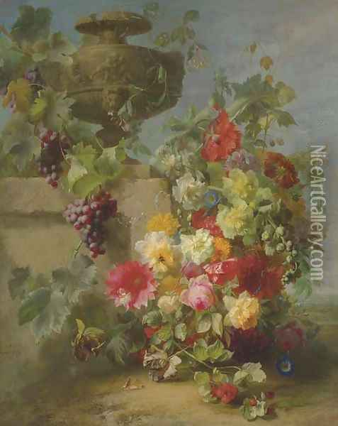 Still Life of Roses, Morning Glories, Chrysanthemums, Forget-me-nots, Grapes and Raspberries by a decorative stone Urn on a Ledge in a Landscape Oil Painting - Jean-Baptiste Robie