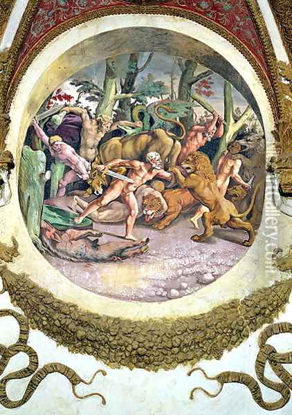 Scene showing that those born under the sign of Leo in conjunction with the constellation of the Dog Star will face wild animals without fear, symbolised by the scene of a struggle between men and beasts, from the Camera dei Venti, 1528 Oil Painting - Giulio Romano (Orbetto)