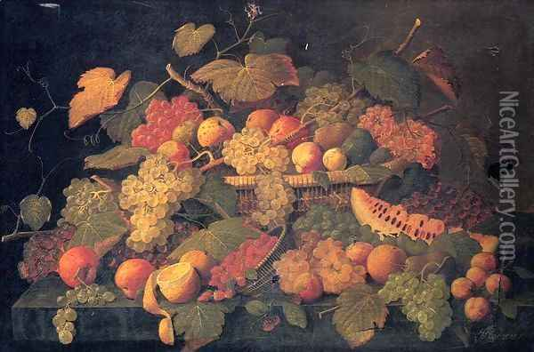 Still Life: An Abundance of Fruit Oil Painting - Severin Roesen