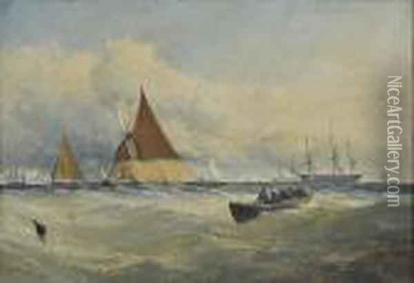 Hay Barge And Other Vessels On The Thames, Signed And Dated '58, Oil On Board Oil Painting - Edmund John Niemann, Snr.