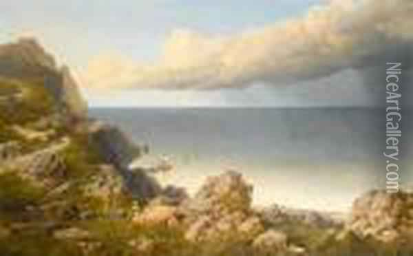 Pen Maen Mawr, Anglesey In The Distance Oil Painting - Edmund John Niemann, Snr.