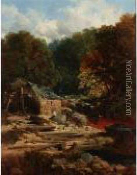 River Landscape With A Fisherman Beside A Watermill Oil Painting - Edmund John Niemann, Snr.