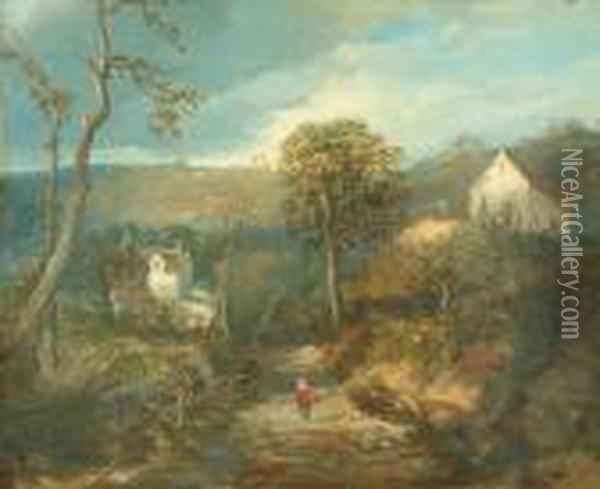 A Hilly Rural Landscape With A Figure Treading The Path Oil Painting - Edmund John Niemann, Snr.