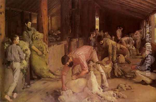 Shearing the Rams Oil Painting - Tom Roberts