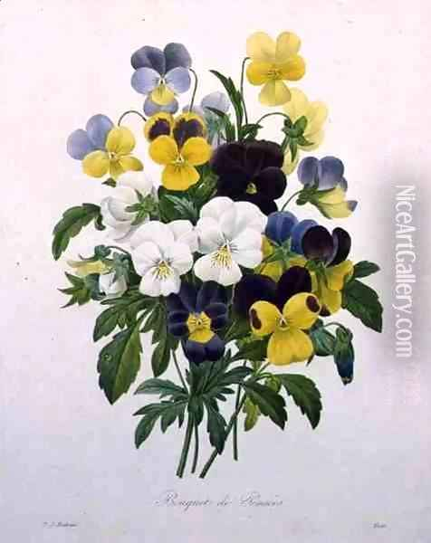 Bouquet of Pansies, engraved by Victor, from Choix des Plus Belles Fleurs, 1827 Oil Painting - Pierre-Joseph Redoute