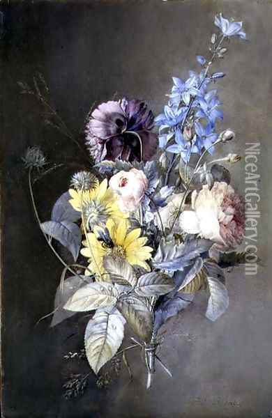 Bouquet of flowers with roses, peonies, delphiniums and daisies Oil Painting - Pierre-Joseph Redoute