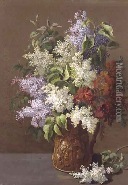Vase of Lilacs Oil Painting - Pierre-Joseph Redoute