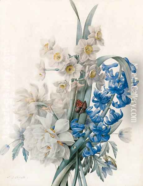 A Bunch of Flowers including Bluebells, Daffodils, and an Admiral Butterfly Oil Painting - Pierre-Joseph Redoute