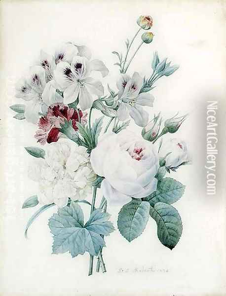 White Roses, a white Peony, a Carnation and Pelagonium Oil Painting - Pierre-Joseph Redoute