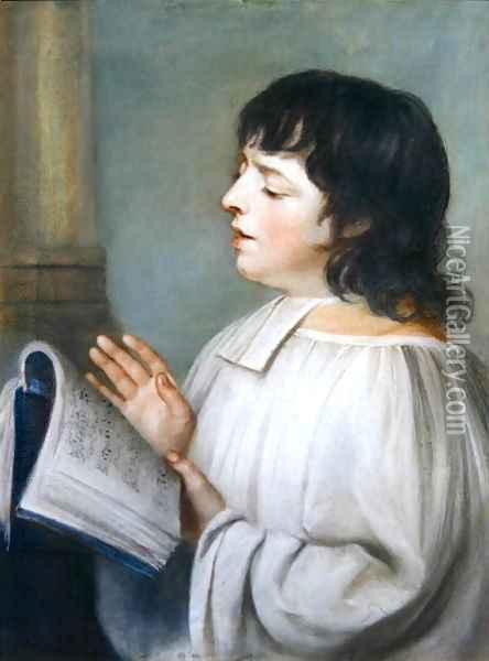 A Chorister Oil Painting - John Russell