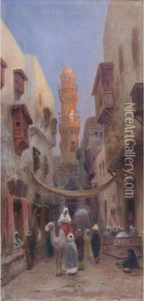 A Street In Cairo Oil Painting - Frans Wilhelm Odelmark