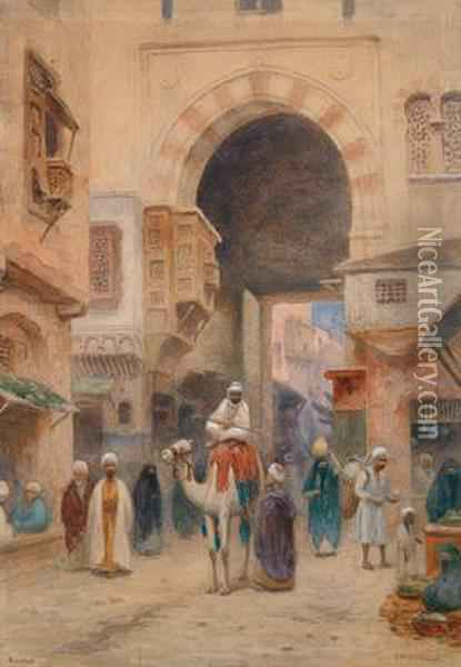 Porta A Cairo Oil Painting - Frans Wilhelm Odelmark