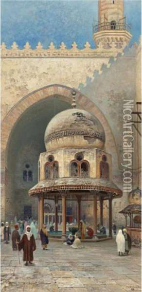 Outside The Mosque Oil Painting - Frans Wilhelm Odelmark