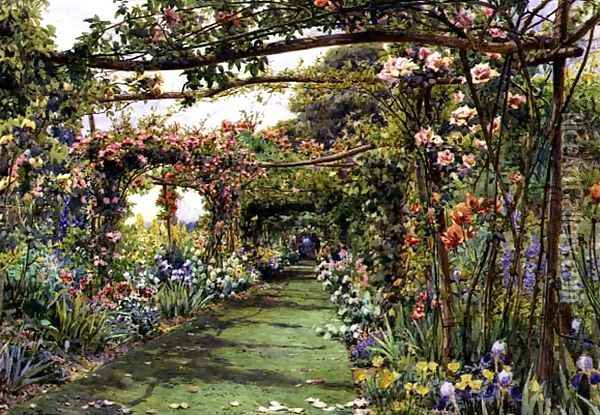 The Rose Pergola, Blackhurst House, Tunbridge Wells, Kent Oil Painting - Ernest Arthur Rowe