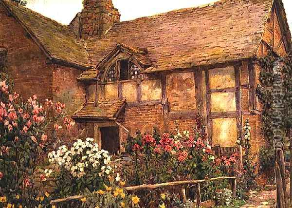 A Cottage garden in Cholstry Oil Painting - Ernest Arthur Rowe