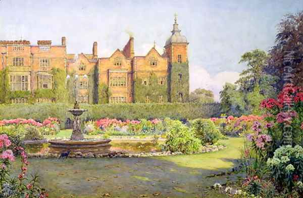 West Front and Gardens of Hatfield House, Herts Oil Painting - Ernest Arthur Rowe