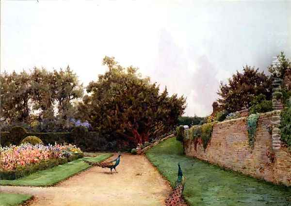 Below The Terrace, Penshurst, Kent Oil Painting - Ernest Arthur Rowe