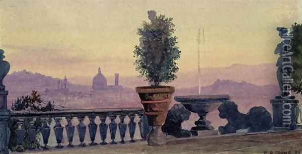 A View of Florence from the Surrounding Hills, 1904 Oil Painting - Ernest Arthur Rowe