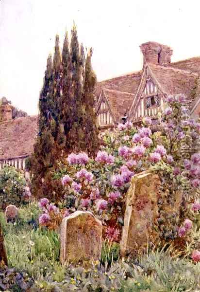 Church Yard, Chiddingstone Oil Painting - Ernest Arthur Rowe