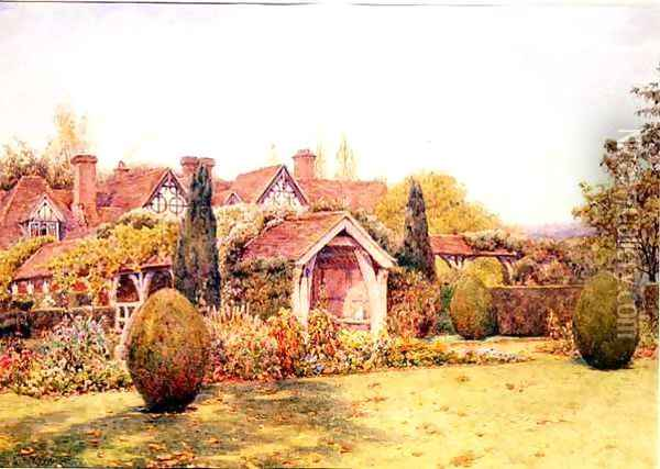 The Gardens at Great Tangley Manor nr. Guildford Oil Painting - Ernest Arthur Rowe