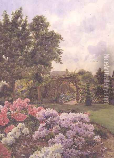 Rhododendrons Oil Painting - Ernest Arthur Rowe