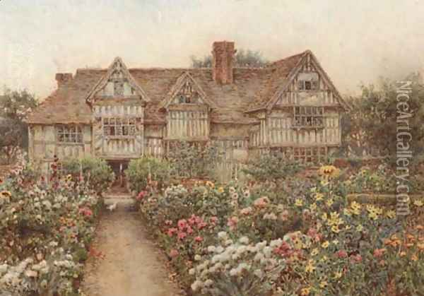 A formal garden before an Elizabethan manor house, thought to be Rumwood Court, Langley, Kent Oil Painting - Ernest Arthur Rowe
