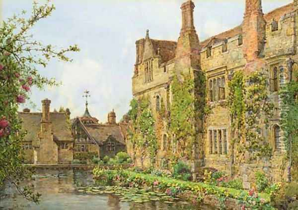Across the moat, Hever Castle Oil Painting - Ernest Arthur Rowe