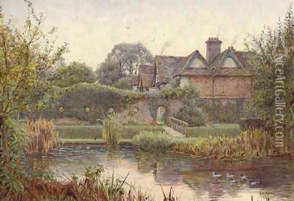 Across the moat, Great Langley Manor Oil Painting - Ernest Arthur Rowe