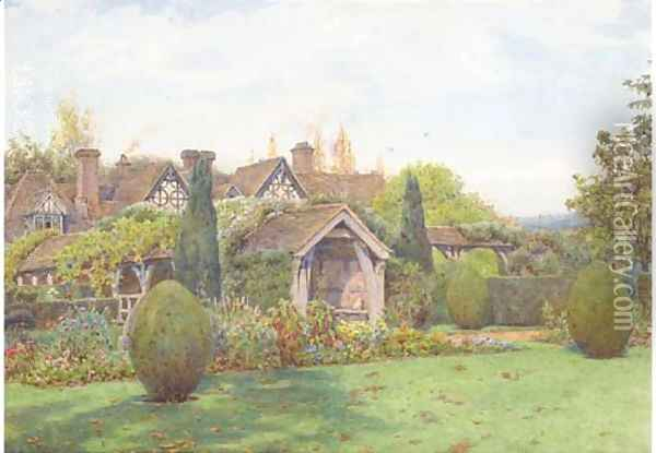 The gardens at Great Tangley Manor, near Guildford, Surrey Oil Painting - Ernest Arthur Rowe