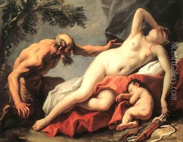 Venus and Satyr 1720s Oil Painting - Sebastiano Ricci