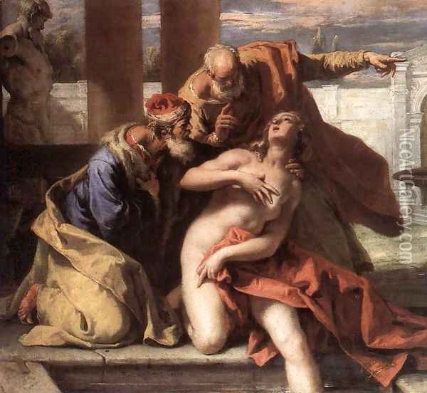 Susanna and the Elders 1713 Oil Painting - Sebastiano Ricci