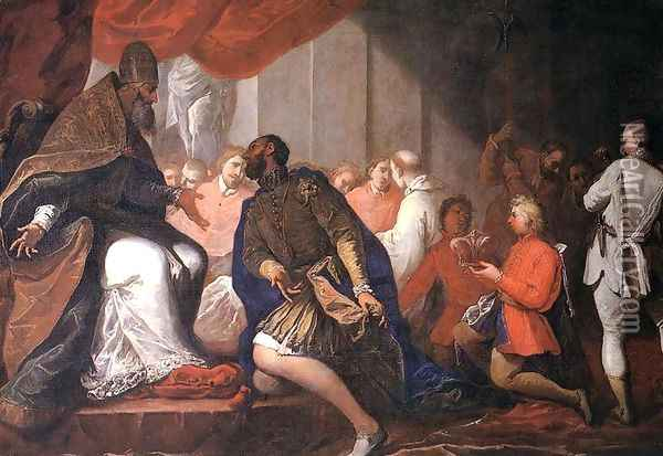 Paul III Appointing His Son Pier Luigi to Duke of Piacenza and Parma c. 1687 Oil Painting - Sebastiano Ricci