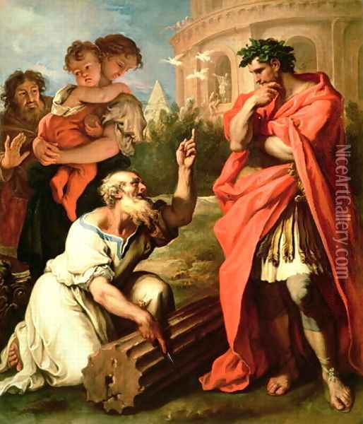 Tarquin the Elder consulting Attus Nevius the Augur Oil Painting - Sebastiano Ricci
