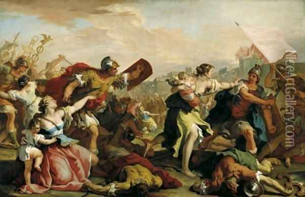 Battle of the Romans and the Sabines c 1700 Oil Painting - Sebastiano Ricci