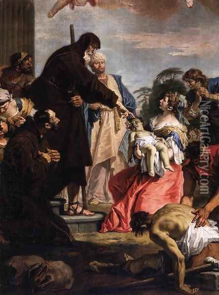 St Francis of Paola Resuscitating a Dead Child Oil Painting - Sebastiano Ricci