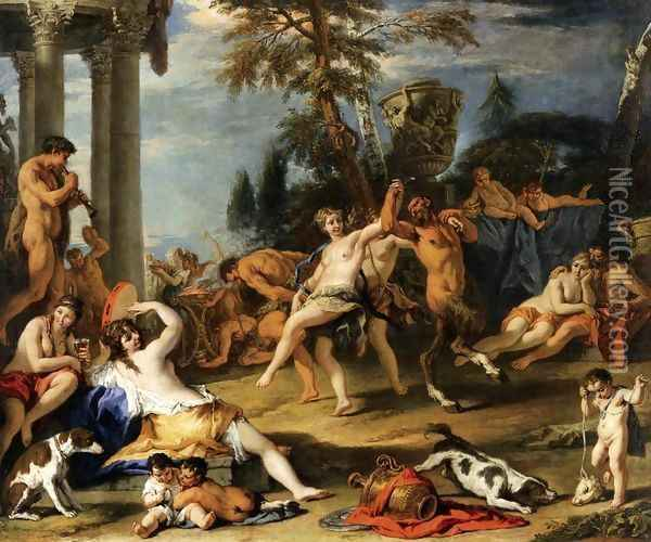Bacchanal in Honour of Pan Oil Painting - Sebastiano Ricci