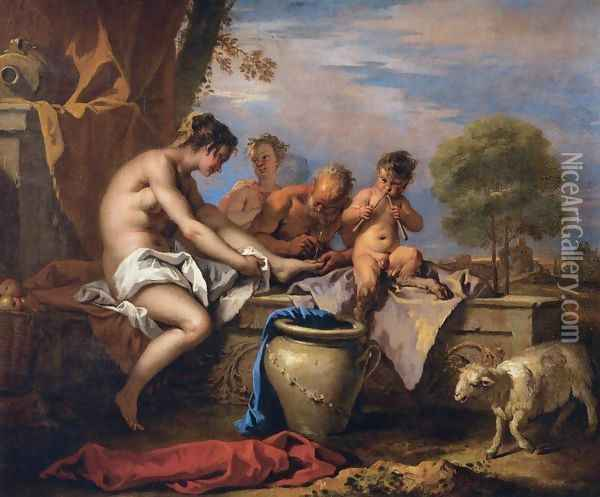 Nymph and Satyrs Oil Painting - Sebastiano Ricci