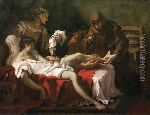 St Anthony of Padua Healing a Youth Oil Painting - Sebastiano Ricci