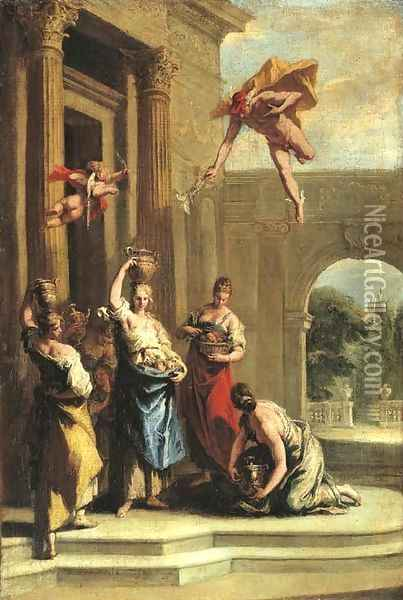 Mercury and Herse outside the temple of Minerva Oil Painting - Sebastiano Ricci