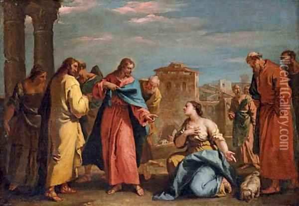 Christ and the Woman of Canaan Oil Painting - Sebastiano Ricci
