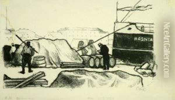 German -- Figures Working By A  Quayside; Lithograph On Japan Paper, Signed In Pencil, 14x23cm: Together  With One Other Lithograph By The Same Hand On Japan Paper By The Same  Hand Depicting Two Seated Arab Women: Together With A Large Collection  Of Oil Painting - Emil Orlik