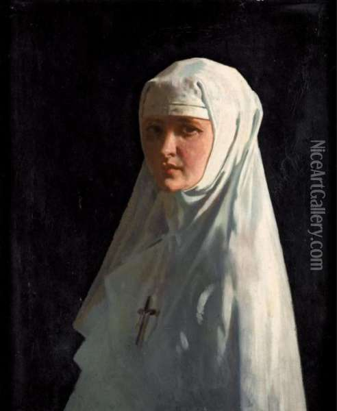 Portrait Of Yvonne Aubicq As A Nun (sister X) Oil Painting - Sir William Newenham Montague Orpen