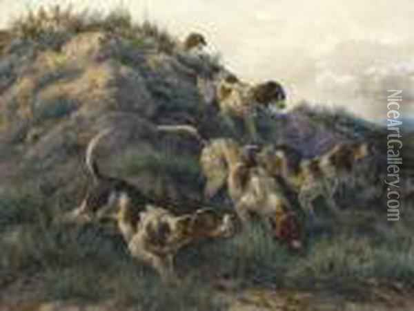 Hounds On A Scent Oil Painting - Edmund Henry Osthaus