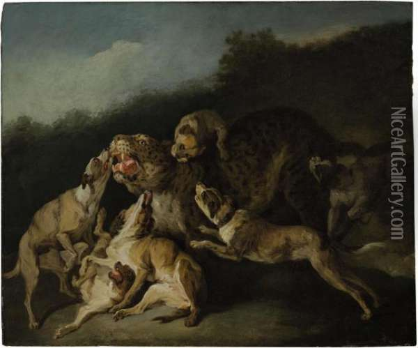 Hunting Scene With A Leopard And Six Dogs Oil Painting - Jean-Baptiste Oudry